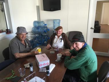 The Trandos Farms 'old guard' enjoying morning tea and a bit of a gossip